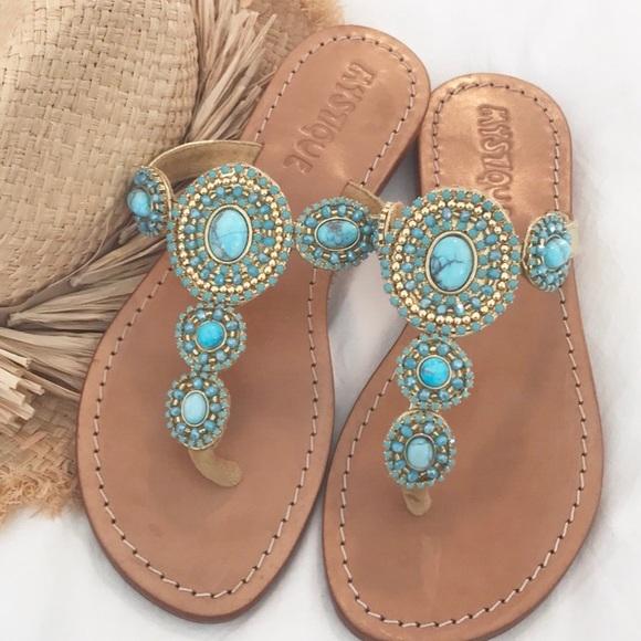 4248cecaffa2e Mystique Turquoise   Gemstone Sandals SZ 5-6. M 5a63ab828df470ec312e9eee